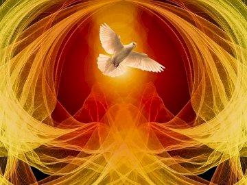 helig ande - Duva - en symbol för den Helige Ande omgiven av lågor.