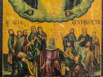 Pentecoste - Icona - Cipro. Pentecoste. Maria - Apostoli - Santissima Trinità.