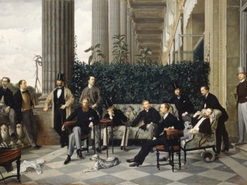 The Circle of the Rue Royale (1868) - The Circle of the Rue Royale by James Tissot (1868). A group of people sitting in front of a buildin