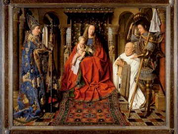 Virgin and Child with Canon van der Paele (1434) - Virgin and Child with Canon van der Paele by Jan van Eyck c. 1434–1436. A group of people standing