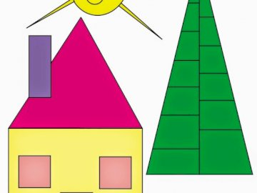 Shapes - Make the puzzle of the next geometric collage and identify the geometric shapes used in the construc