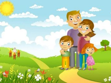 My family - Puzzles for three-year and four-year-old children (for distance learning).