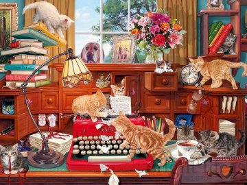 Interior with cats. - Jigsaw puzzle. Building. Interior with cats.