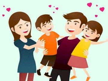 Famiglia e cuori - Disporre il puzzle dal puzzle, trascinarli nel punto giusto sullo schermo