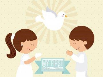 The First Holy Communion - The First Holy Communion. Praying children.