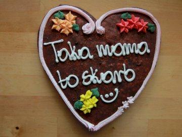 """El corazon de la madre - Corazón de pan de jengibre """"Taka Mama es un tesoro"""""""