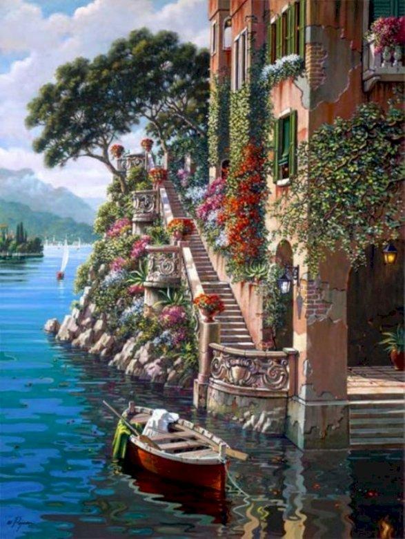 Villa en el lago - Villa en el lago de Como. Duży zbiornik wodny z miastem w tle.