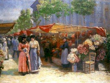 Marché aux fleurs - Józef Pankiewicz - Marché aux fleurs devant l'église de St. Magdalena à Paris. Un couple de