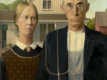 Грант Ууд - американска готика - живопис, изкуство, фигури, безвъзмездно дърво, америка�