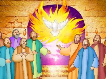 Pinksteren - Puzzel met de afdaling van de Heilige Geest