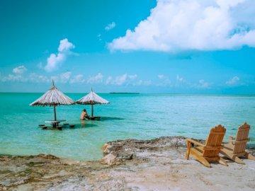 Човек седи сам в рая. - Кафяви дървени шезлонги на плажа през деня. Калифорния