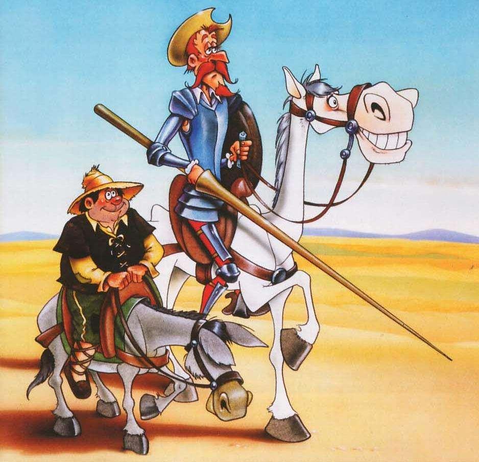 Don Quichot de la Mancha en Sancho Panza - Don Quijote van La Mancha. Don Quichot de la Mancha 2. Het belangrijkste werk van Miguel de Cervantes Saavedra. De ingenieuze heer Don Quijote van La Mancha. Het belangrijkste werk van Cervantes (10×10)
