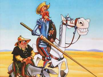 Don Quixote de la Mancha and Sancho Panza - The most important work of Miguel de Cervantes Saavedra.