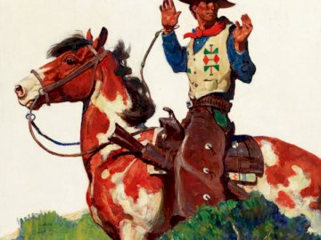 Z westernu - kowboj na koniu, dziki zachód