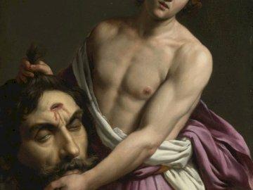 Dawid z głową Goliata - Dawid, Goliat, sztuka, głowa, mit