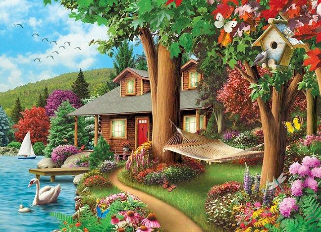 Krajobraz z jeziorem. puzzle online