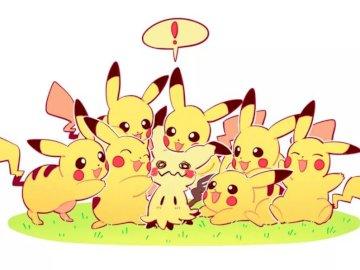 Pikachu i mimikyu - Pokemony Pokemon Sun i Moon. To są pokemony występujące w pokemon Sun i Moon