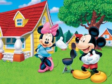 Myszka Miki - Ułóż puzzle, policz z ilu puzzli składa się obazek?
