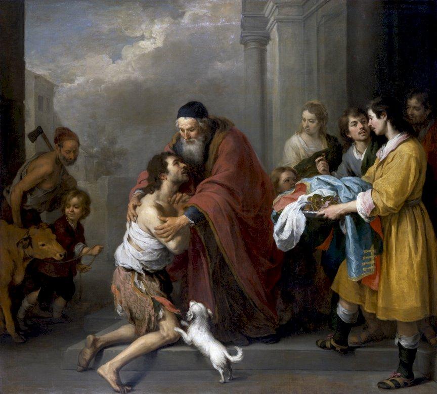 """El hijo pródigo - El regreso del hijo pródigo. El retorno del hijo pródigo de Murillo. """"El regreso del hijo pródigo"""" Murillo (7×7)"""