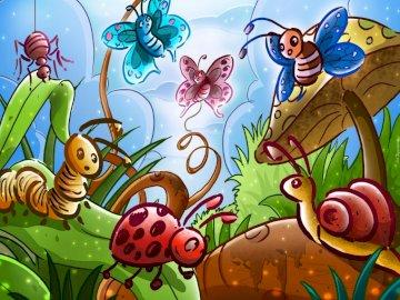 owady - puzzle - ułóż puzzle 18 elementów