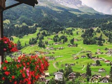 village under mountains - swiss village under mountains