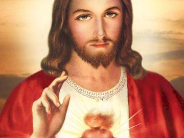 Serce Pana Jezusa - Obraz przedstawia Najświętsze Serce Pana Jezusa. Wizerunek Zbawiciela ukazujacego swoje serce.