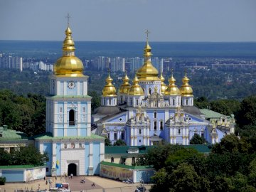 Ukraina Kijów - panorama miasta  - kościół