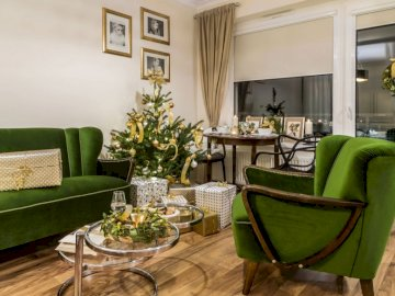 Zielono złote mieszkanie - Zielono - złoty wystrój wnętrza mieszkania