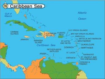 Morze Karaibskie - Mapa Morza Karaibskiego Puzzle
