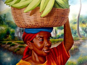 Kobieta z koszem bananów na głowie - kosz, banany, kobieta, sztuka