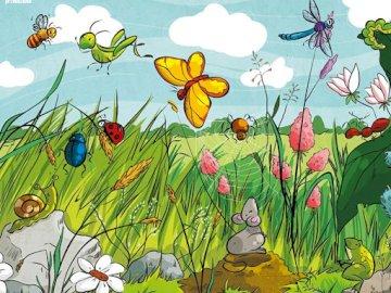Mieszkańcy łąki - Puzzle dla dzieci o mieszkańcach łąki.