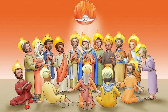 Zesłanie Ducha Świętego (dzieci) - Ułóż puzzle o  Uroczystości Zesłania Ducha Świętego (8×5)