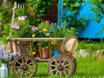 Wózek Ogrodowy Z  Kwiatami W Doniczkach - Wózek Ogrodowy, Kwiaty W Doniczkach I Wazonie.