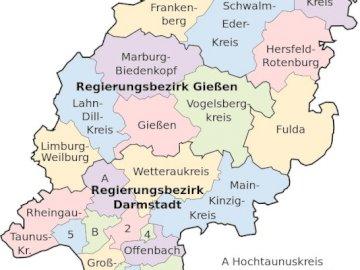 Hessenpuzzle online - hessische landkarte mit landkreisen