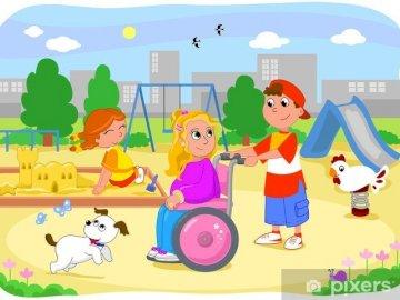 Un niño en silla de ruedas. - Niño en una silla de ruedas de dibujo