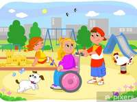 A child in a wheelchair