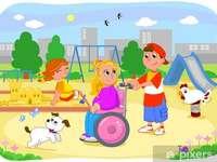 Un enfant en fauteuil roulant