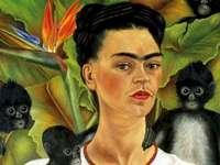 Frida et 3 singes - art, portrait, femme, singes