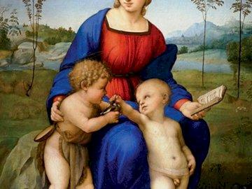 Madonna ze szczygłem, Rafael - sztuka, madonna, szczygieł, Rafael