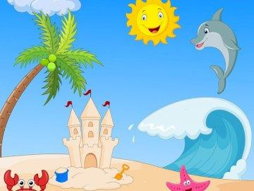 Strand puzzel - Puzzel voor kleine jongens en meisjes met zomer thema.