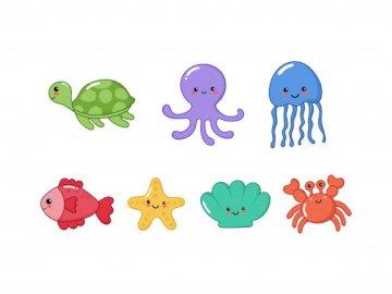 Puzzle de animales marinos - Puzzle de animales marinos para niños y niñas