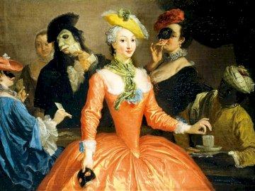 Vestito arancione - moda, donna, abito, parrucca