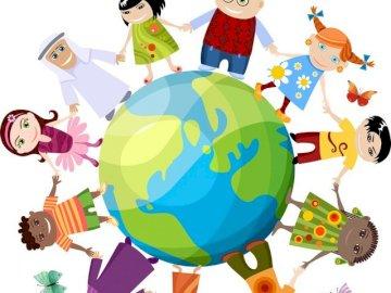 Niños del mundo - Rompecabezas que representa a niños de todo el mundo.