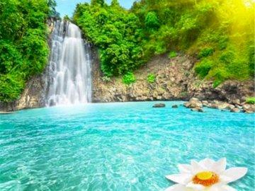 Nice waterfall - Waterfall with landscape