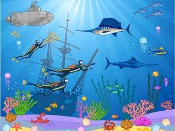 Vízalatti világ. - A színes és víz alatti világ lehetővé teszi, hogy megnézze az ott élő állatok és növény