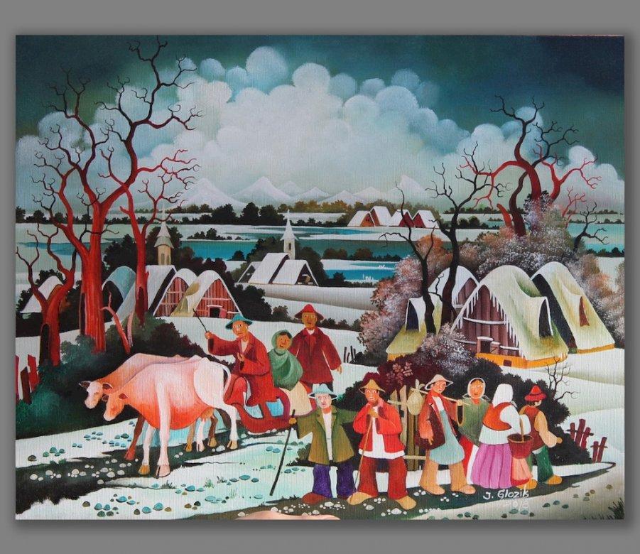 Paysage d'hiver - hiver, paysage, art