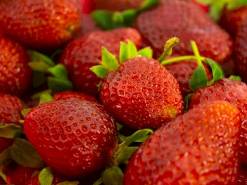 Read and Fresh Strawberries - Red strawberries in close up photography. Turkey, İstanbul