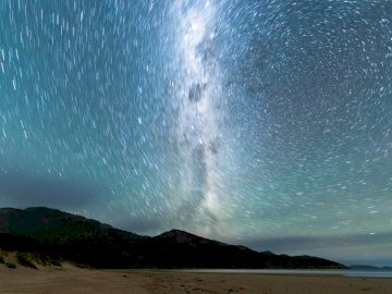 Mt Oberon, Wilsons Prom - Black mountain across stars time lapse photography. Melbourne, Australia