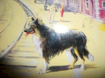 Lampo - um cachorro que gostava de viajar de trem - lendo - Ilustração de um herói lendo Roman Pisarski Sobre um cachorro que andava no trilho