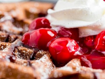 Black Forest Cake Waffles - Black Forest Cake cherry waffles